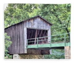 Euharlee Creek Covered Bridge Fleece Blanket