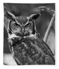 Eurasian Eagle Owl Monochrome Fleece Blanket