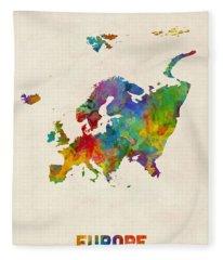 Europe Continent Watercolor Map Fleece Blanket