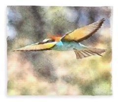 European Bee Eater In Flight Watercolor Fleece Blanket