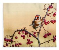European Goldfinch With Berries Fleece Blanket