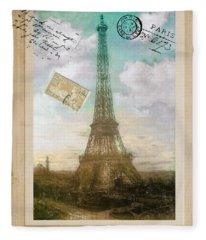 European Vacation Postcard Paris Fleece Blanket