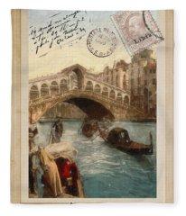 European Vacation Postcard Venice Fleece Blanket