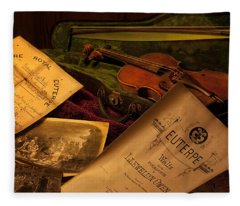 Euterpe Muse Of Music - Musical Artifacts Fleece Blanket