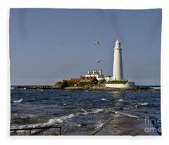 Evening At St. Mary's Lighthouse Fleece Blanket