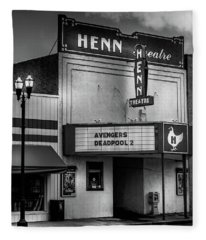Evening At The Henn In Black And White Fleece Blanket
