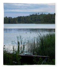 Evening At The Lake With Two Mallards Fleece Blanket