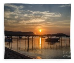 Evening At The Pier Fleece Blanket