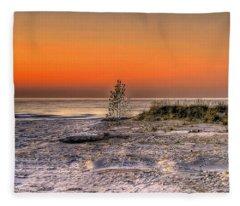 Evening Beach Glow  Fleece Blanket