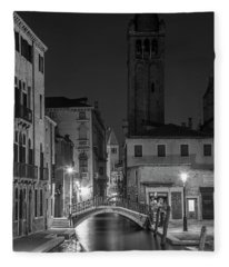 Evening Canal In Venice To The Tower  Fleece Blanket