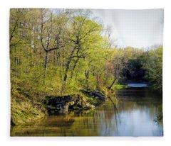 Evening Falls On Cedar Creek Fleece Blanket
