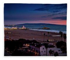 Evening Glow On The Pier Fleece Blanket
