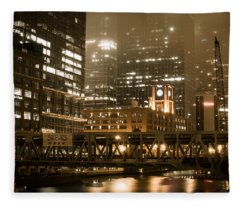 Evening In The Windy City Fleece Blanket