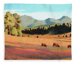 Evening Light Evergreen Fleece Blanket