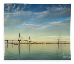 Evening Lights On The Bay Cadiz Spain Fleece Blanket