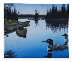Evening Loons Fleece Blanket