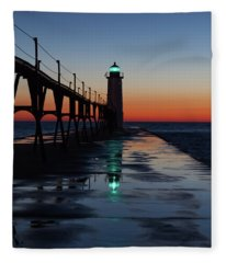 Evening On Lake Michigan Fleece Blanket