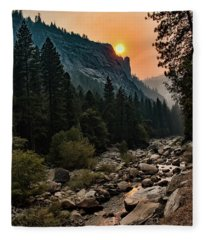Evening On The Merced River Fleece Blanket