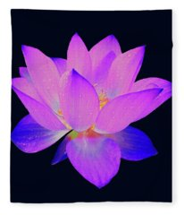 Evening Purple Lotus  Fleece Blanket