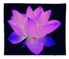 Evening Purple Lotus  Fleece Blanket