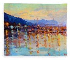 Evening Reflections In Piermont Dock Fleece Blanket