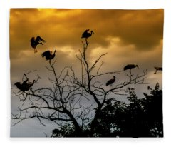 Evening Storks Fleece Blanket