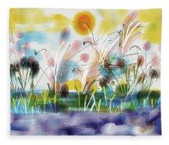 Evening Swim Painting  Fleece Blanket