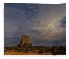Evening Time At Devils Tower Fleece Blanket