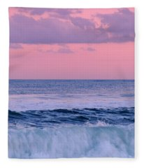 Evening Waves 2 - Jersey Shore Fleece Blanket