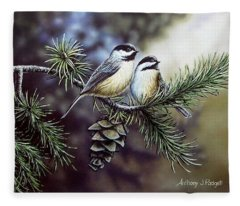 Evergreen Chickadees Fleece Blanket