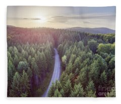 Evergreen Forest From Above Fleece Blanket
