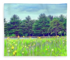 Evergreen Lake - Impressionism Fleece Blanket