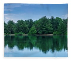 Evergreen Lake Reflections Fleece Blanket