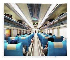 Perspective Inside A Train Fleece Blanket