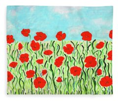 Everythings Popping Up Poppies Fleece Blanket