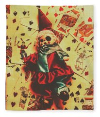 Evil Clown Doll On Playing Cards Fleece Blanket