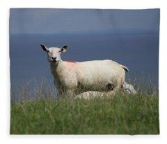 Ewe Guarding Lamb Fleece Blanket