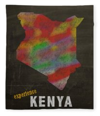 Experience Kenya Map Hand Drawn Country Illustration On Chalkboard Vintage Travel Promotional Poster Fleece Blanket