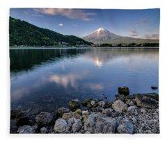 Exploring My Way Along Lake Kawaguchi Shoreline Fleece Blanket