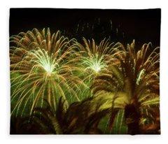 Explosive In Green Fireworks Fleece Blanket