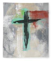 Expressionist Cross 3- Art By Linda Woods Fleece Blanket