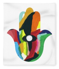 Expressionist Hamsa- Art By Linda Woods Fleece Blanket