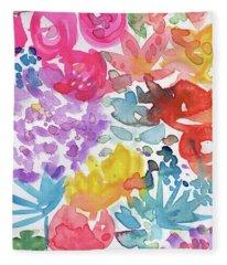 Expressionist Watercolor Garden- Art By Linda Woods Fleece Blanket