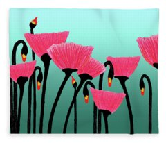 Expressive Red Pink Green Poppy Painting Y1a Fleece Blanket