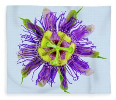 Expressive Yellow Green And Violet Passion Flower 50674b Fleece Blanket