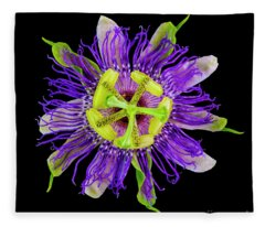 Expressive Yellow Green And Violet Passion Flower 50674c Fleece Blanket