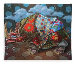 Extremely Strange Rhinoceros Fleece Blanket