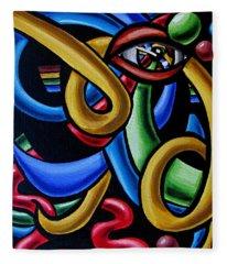 Colorful Illusion Optical Eye Art Painting Chromatic Art - Multicolor Chromatic Energy Flow Art  Fleece Blanket
