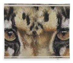 Clouded Leopard Gaze Fleece Blanket