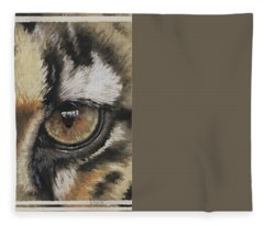 Fleece Blanket featuring the painting Clouded Leopard Gaze by Barbara Keith